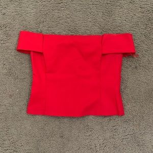DAINTY HOOLIGAN Red Off The Shoulder Top